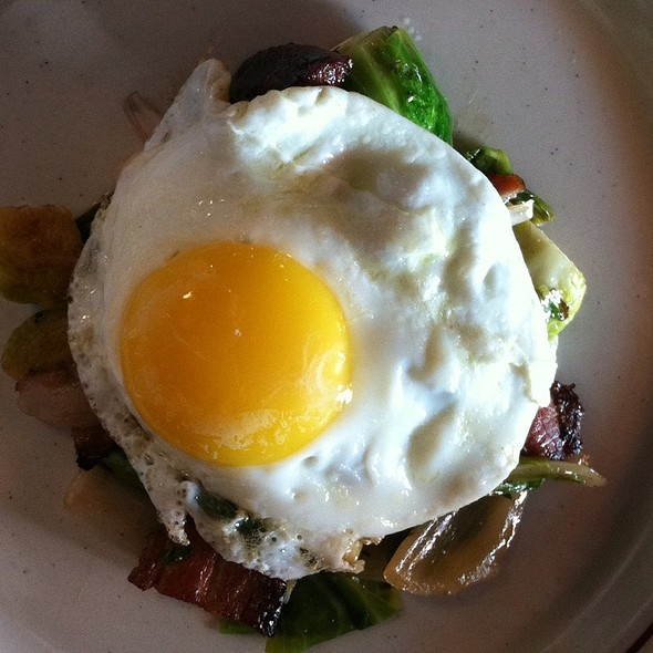 Brussels Sprouts, Braised Pork Belly, And Fried Egg @ The Waucoma Club