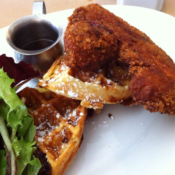 Fried Pork Chop with Cheddar Waffles @ Buttermilk Channel