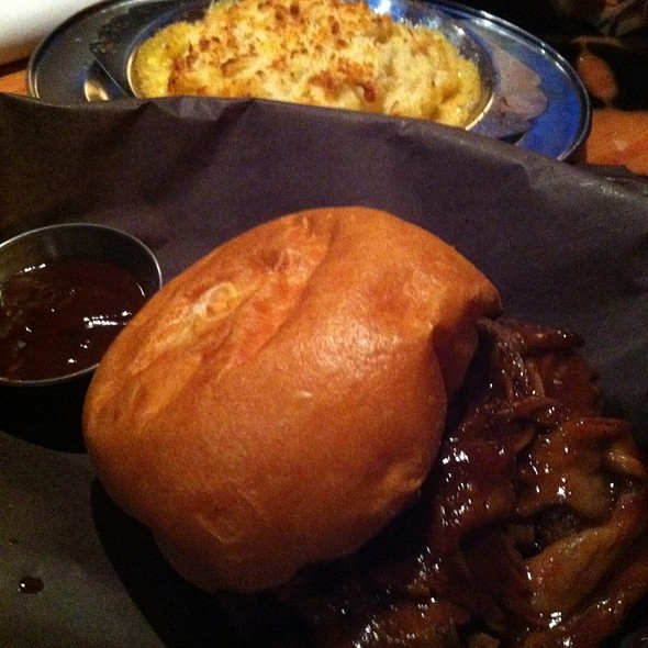 Shaved Brisket Sandwich, Coffee Bbq Sauce With Mac 'N Cheese  @ Smoque Shack