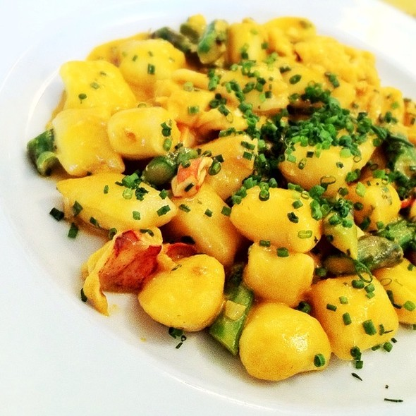 Potato Gnocchi w/ Lobster, Sea Urchin Sauce and Asparagus - Angelini Osteria, Los Angeles, CA
