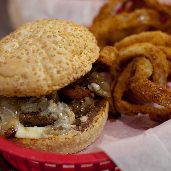Mini Prized Pearl with Onion Rings @ Pearl's Deluxe Burgers