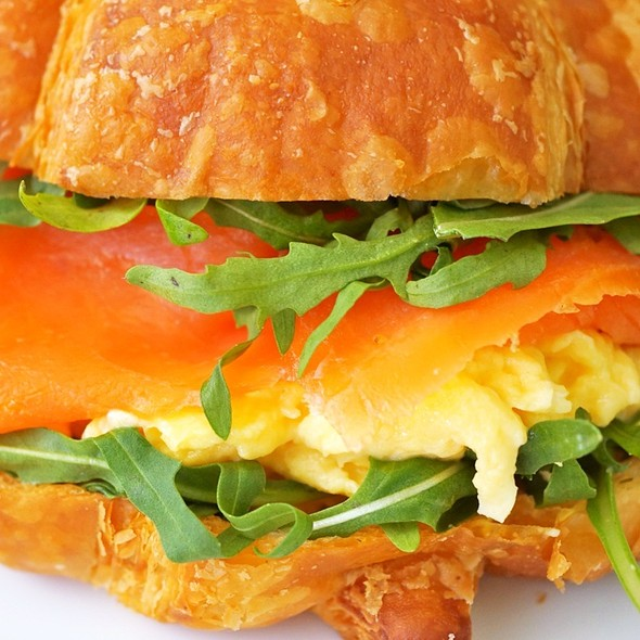 Scramble Egg, Smoked Salmon Croussant @ At Home