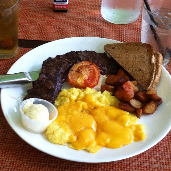 Skirt Steak and Eggs - The Pelican Cafe, Miami Beach, FL