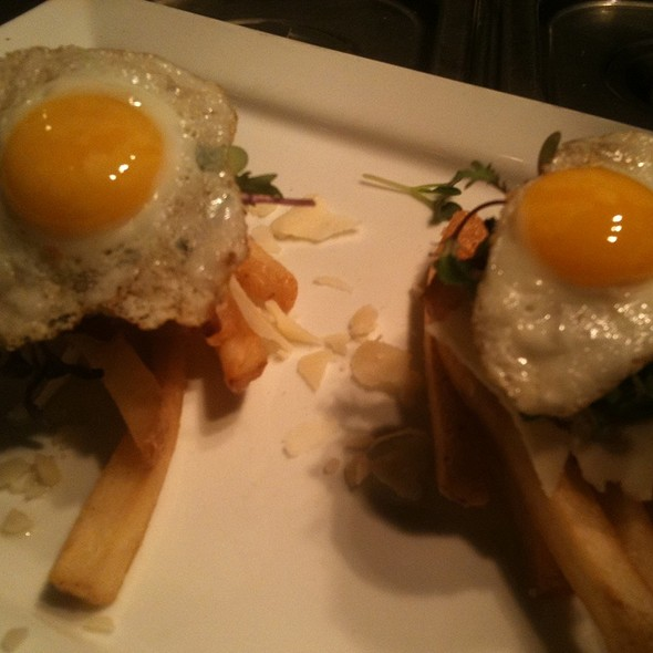 Housr Cured Bacon, Quail Egg, And Parmesan Cheese Truffle Fries