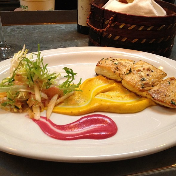 Halibut With Beet And Carrot Puree @ Luc