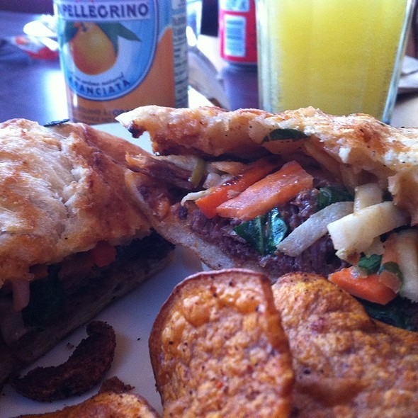 Wild Boar Pressed Sandwich With Apple Slaw And Homemade Potato Chips @ Presse Cafe