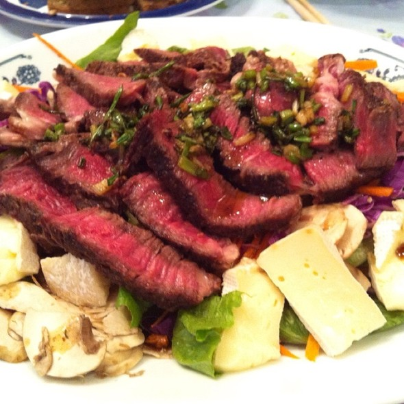 Australian Grass Fed Ribeye Steak Salad With Camenbert In Maple Syrup Balsamic Vinegrette @ Tom's Kitchen