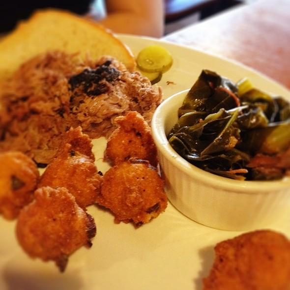 Pulled Pork, Hushpuppies, And Collard Greens @ Burnt Fork Bbq