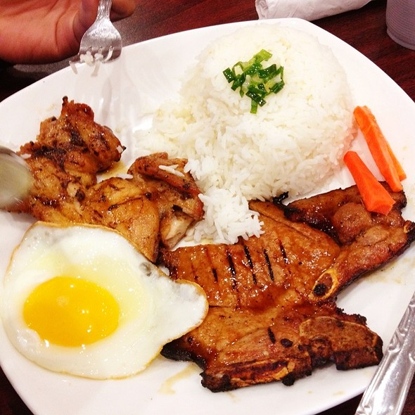 Fried Egg, Grilled Pork Chop And Grilled Chicken With Rice @ Pho Bo Saigon Ltd