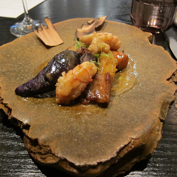 Forgotten vegetables, smoked pork jowl, yabby tails with aromas of cedar @ Becasse Bakery