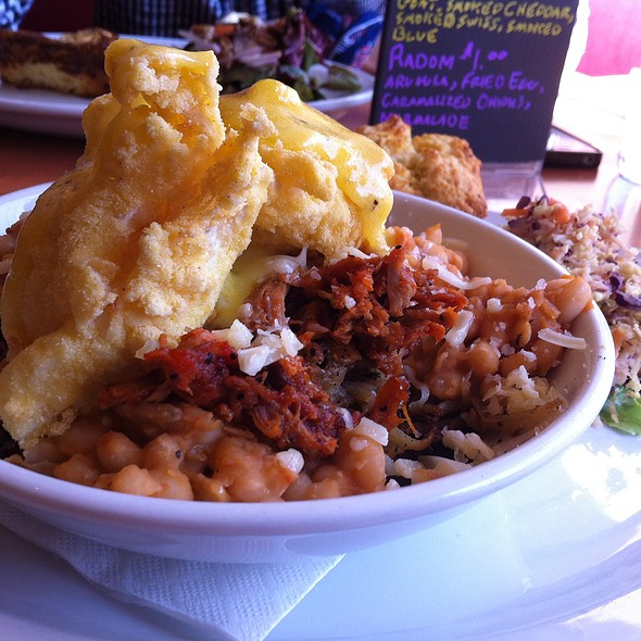 Deep Fried Poached Eggs With Baked Beans And Hash @ Hadley's