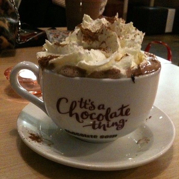 Hot Chocolate Milk with marshmallows and whipped cream @ Chocolate Soup