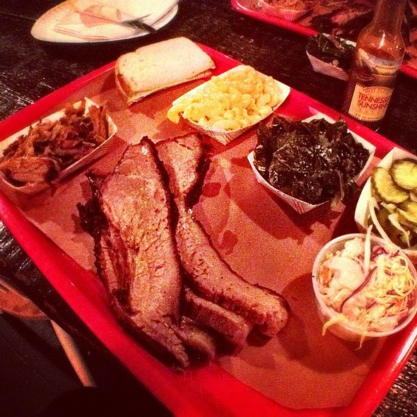 brisket, pulled pork, collard greens, mac & cheese