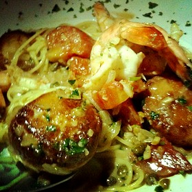 Special Of The Night: Scallops And Shrimp Angel Hair Pasta In White Wine Sauce