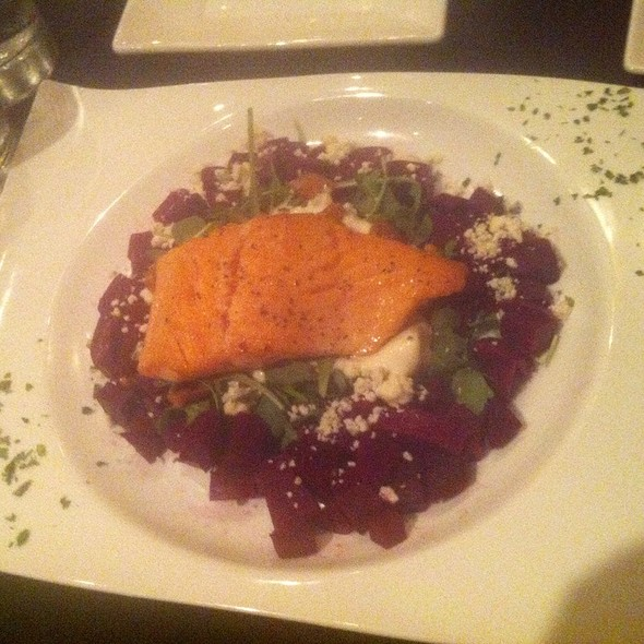 Roasted Beet And Bleu Cheese Salad With Salmon - SideBar Columbus, Columbus, OH