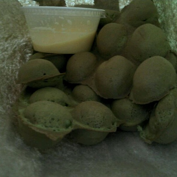 Green tea egg puffettes @ Puffettes Egg Puff - Food Truck
