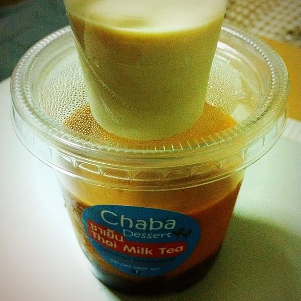 Thai Milk Tea Pudding With Red Beans @ Chaba Dessert