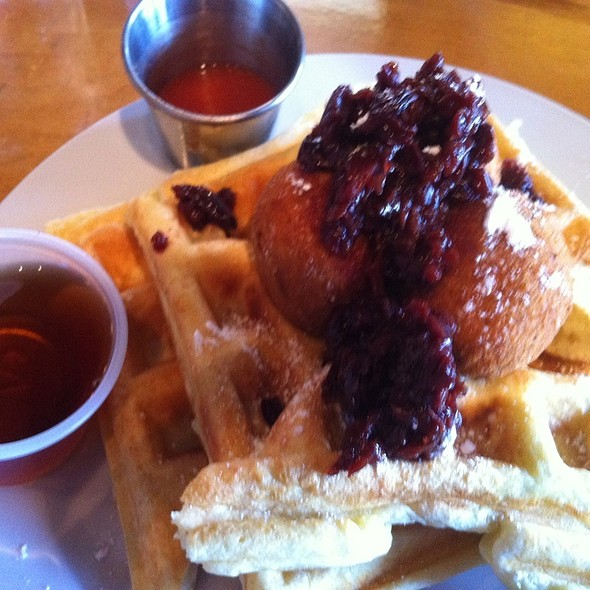 Chicken And Waffles, With Chicken Croquettes, Sour Cherry Compote And Maple Syrup @ Pressed