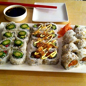 Spicey Surf And Turf, Salmon Roll Special, Spicey Salmon - Red Ginger of Traverse City, Traverse City, MI