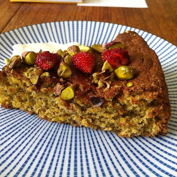 Pistachio And Wild Strawberry Cake @ Home