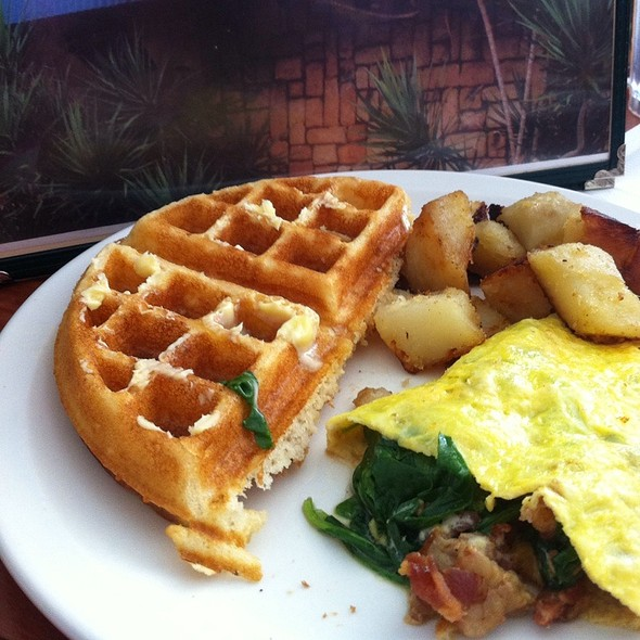 Belgian Waffle & Spinach, Bacon & Cheese Omelette