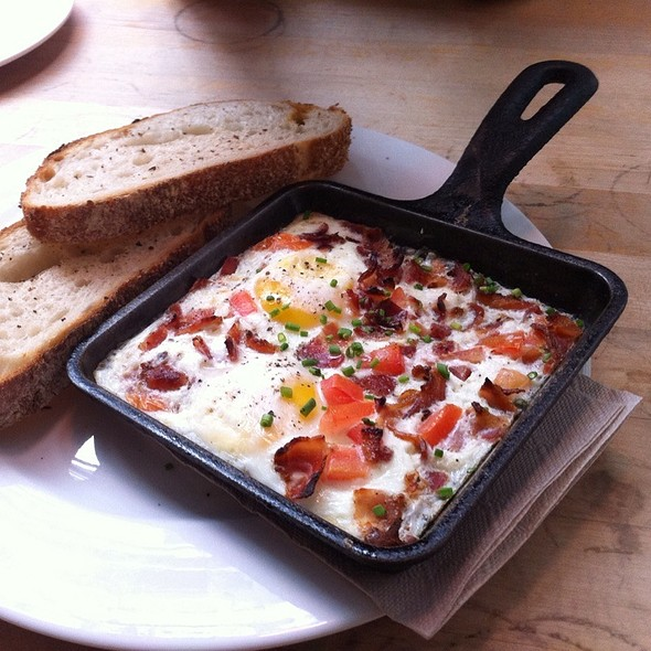 Baked Eggs, Tomatoes And Pancetta With Filone Toast @ Brown Cafe
