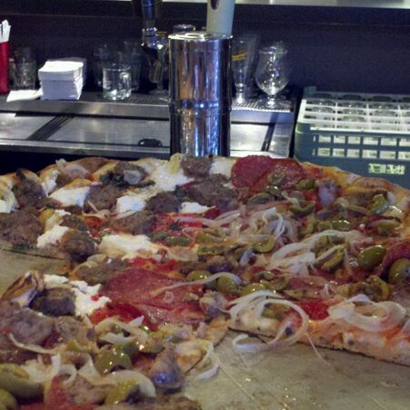 Fennel Sausage, Hot Salami, Onion & Cracked Green Olive @ Black Sheep Pizza