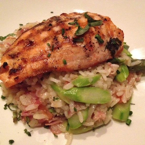 Risotto With Grilled Salmon, Asparagus & Pancetta - Trapeze European Cuisine, Burlingame, CA
