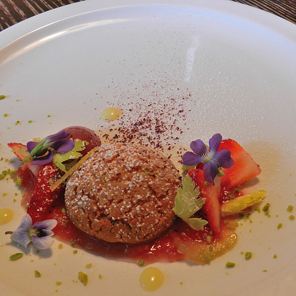 Crunchy Choux w/ elderflower mousseline, rhubarb and strawberry sphere  @ Baton Supper Series