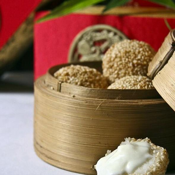 Deep Fried Glutinous Rice Balls Filled With Creamy White Chocolate  @ Mabuhay Palace