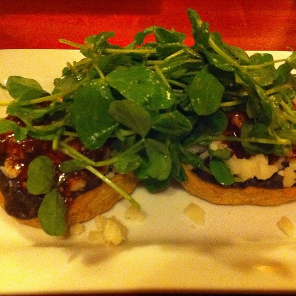 Corn Masa Memelas, Black Beans, Aged Goat Cheese, Arbol Salsa And Dressed Shoots