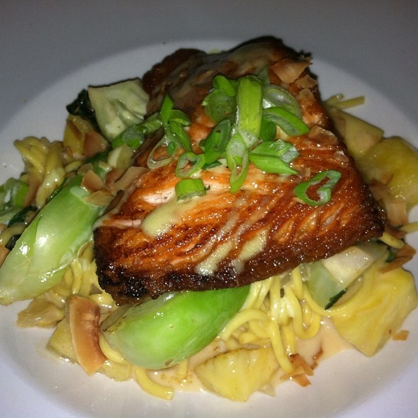 Salmon Over Coconut Pinapple Lo Mein With Bok Choy - The People's Kitchen & Citizen Wine Bar, Worcester, MA