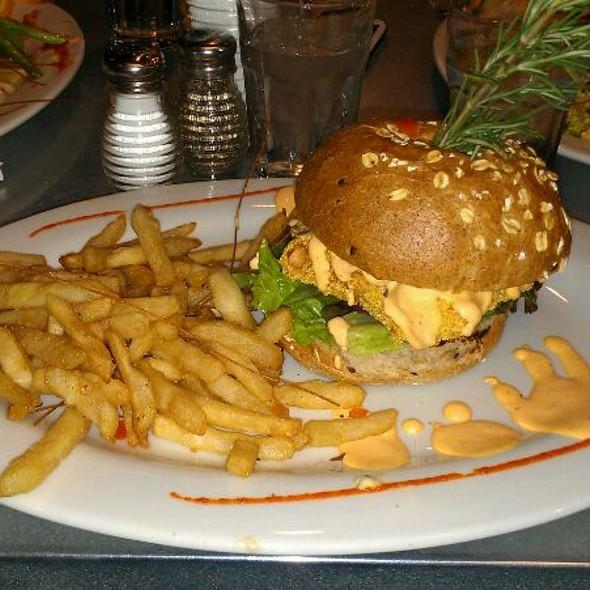 Crispy Spicy Salmon Burger @ Hash House A Go Go