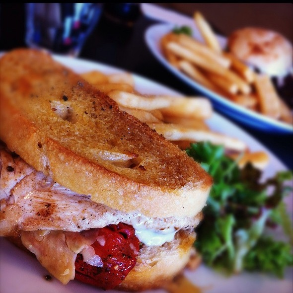 Pressed Chicken Sandwich W Roasted Capsicum, Walnuts, Celery & Beer Battered Chips @ Short Black