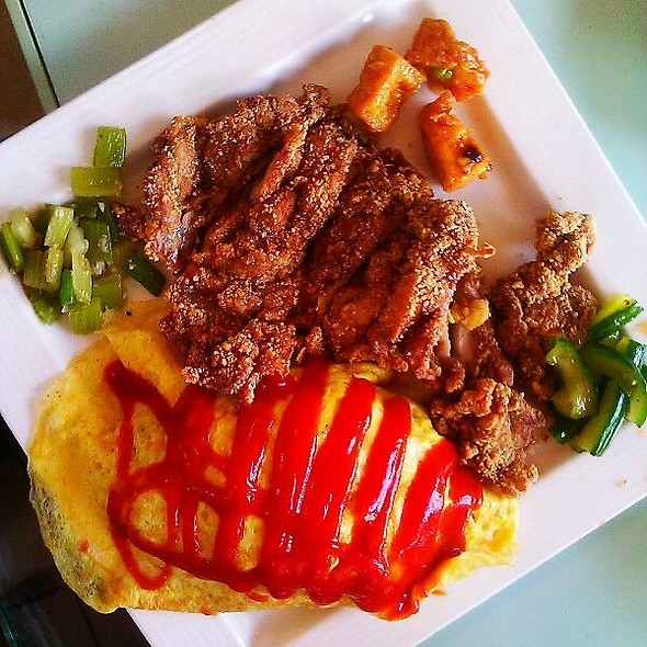 Fried Rice Egg Omelette With Fried Chicken  @ Tri-Ty