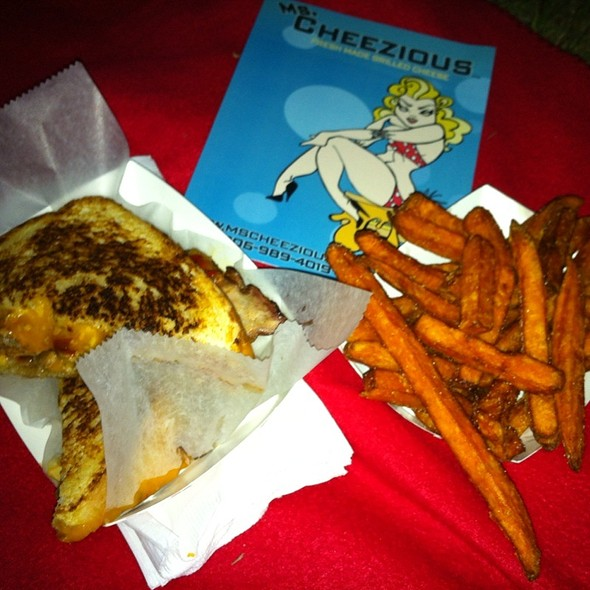 Pork Cheddar And Red Pepper Grilled Cheese With Thee Best Sweet Potato Fries Ive Ever Had! @ Ms. Cheezious