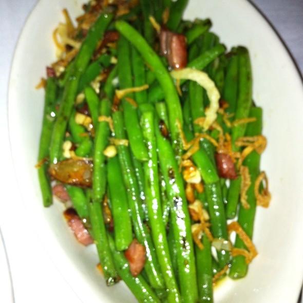 Sauteed Green Beans, Ham, Pecans