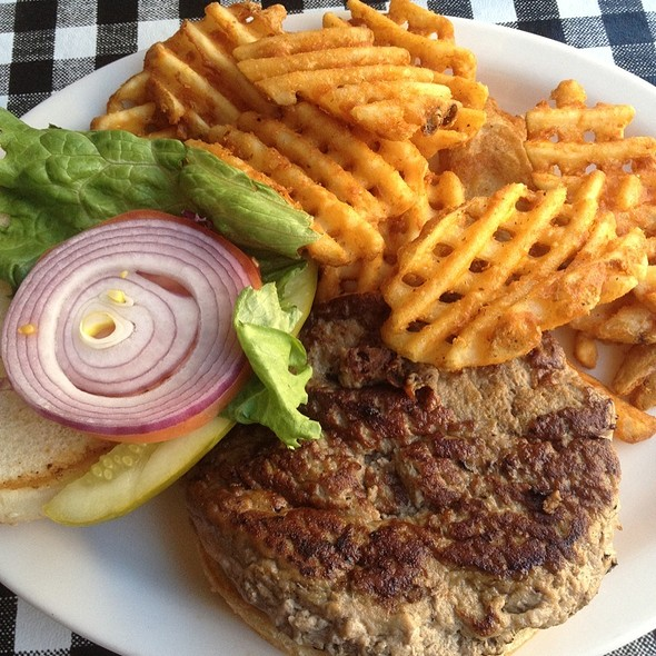 Turkey Burger With Waffle Fries  @ Broadway Diner