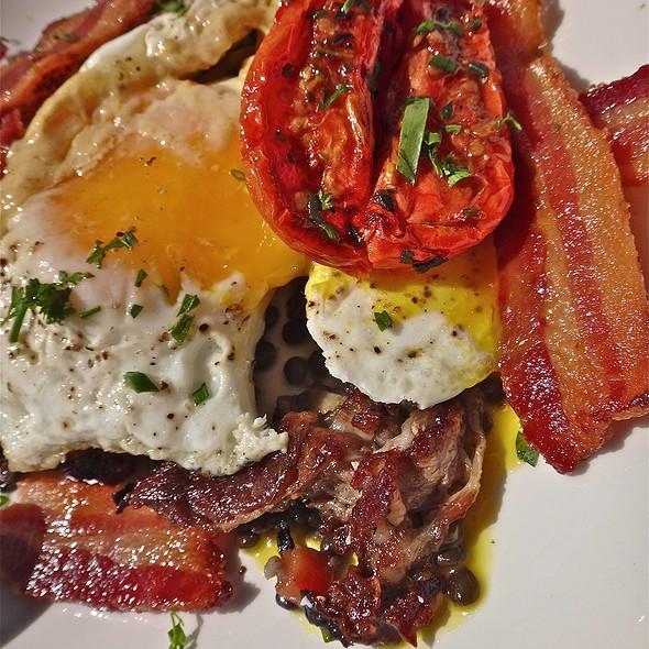 Lamb & Eggs/ Sunny Side Eggs/ Hollandaise/ Beluga Lentils/ Oven Dried Tomato @ Naked Lunch