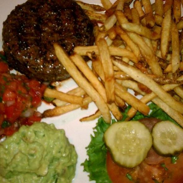 Burger, No Bun, Gluten-free Fries with guac and pick de gallo @ Poe's Tavern