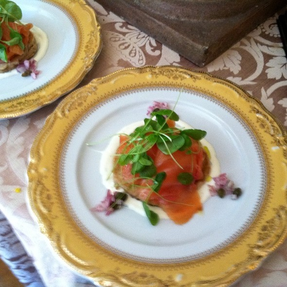 Scottish Smoked Salmon Buckwheat Blini Lemon Caper Creme Fraiche & Lamvs Lettuce @ The Gables