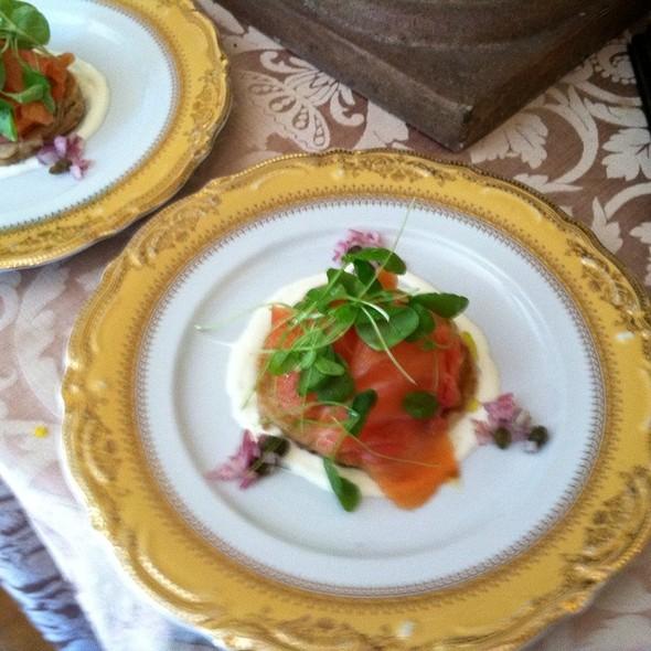 Scottish Smoked Salmon Buckwheat Blini Lemon Caper Creme Fraiche & Lamvs Lettuce @ The Gables