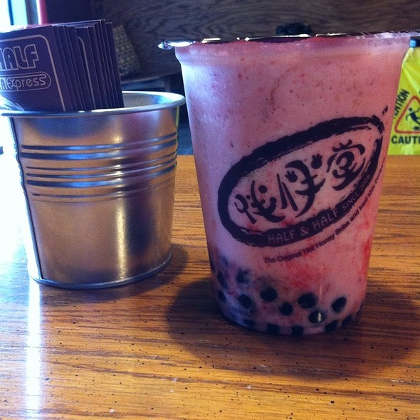 Iced Milk With Strawberries, Pudding And Honey Boba @ Half & Half Tea Express