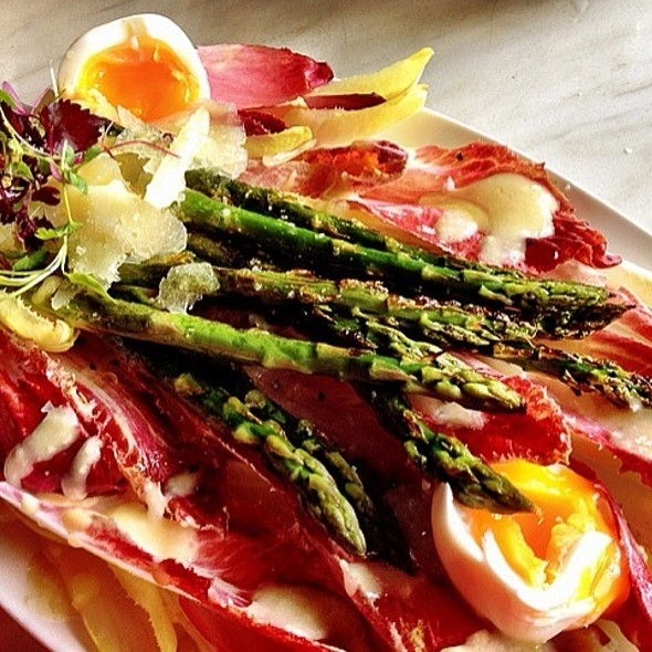 Grilled Asparagus and Truffled Hen's Egg Salad, with Hollandaise @ The Winery