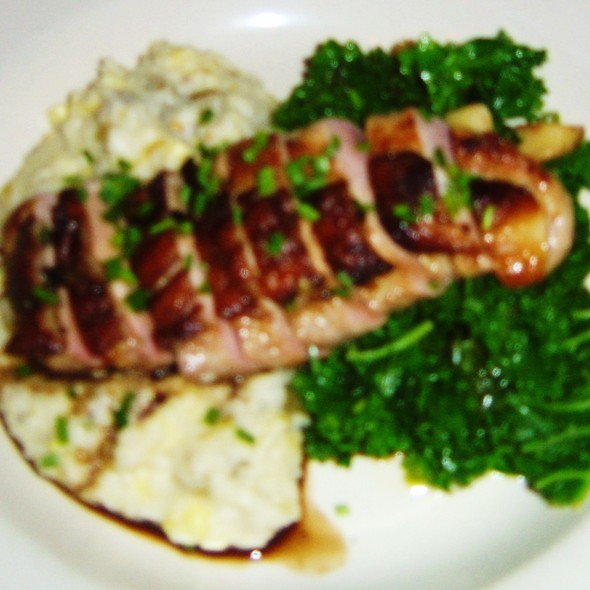 Duck Breast w/ Green Chile Grits & Garlic Spinach @ Navajo Grill