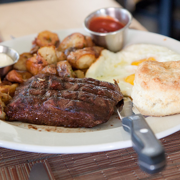 Grilled Prime Flatiron Steak and Eggs - BLD, Los Angeles, CA