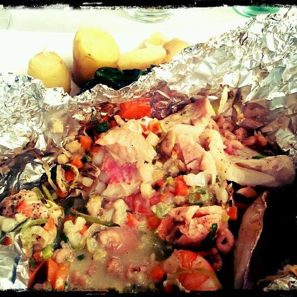 Ballotine of Salmon, Scampi, Redfish and White-wine Sauce @ Beukenhof