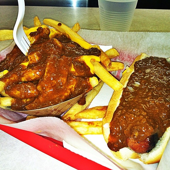 Half-smoke with chili and cheese fries @ Ben's Chili Bowl