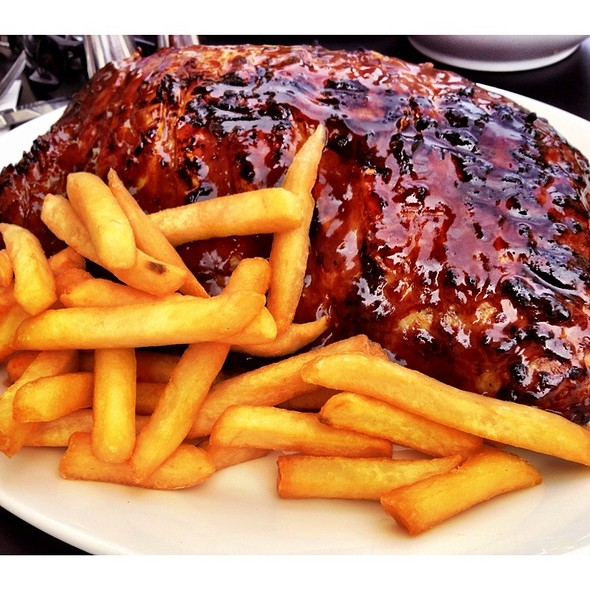 Full Rack Pork Ribs And Chips @ Hurricane's Grill