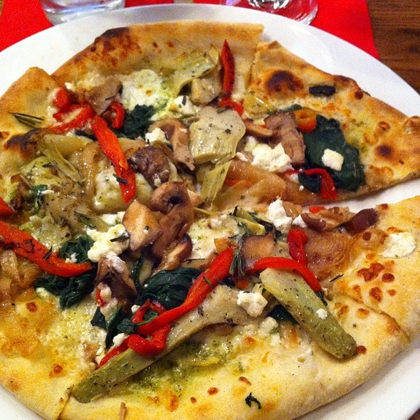 Bianco Pizza With Additional Artichokes, Mushrooms, & Basil @ fireworks pizza
